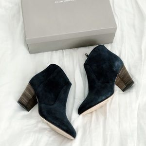 Club Monaco | navy suede Brooklyn booties